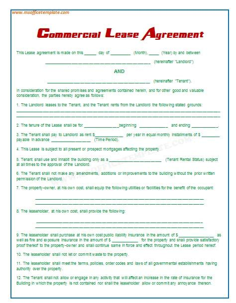 office rental agreement template free printable documents