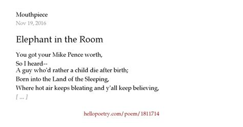 There Is An Elephant In The Room Poem by Elephant In The Room By Mouthpiece Hello Poetry