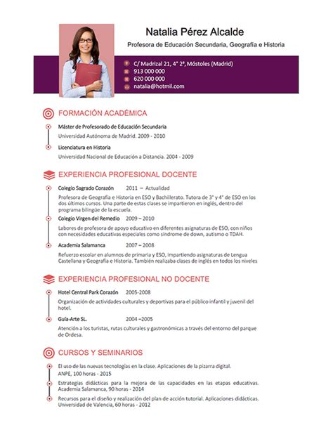 Plantilla De Curriculum Vitae Para Docentes Elaboraci 243 N Curriculum De Profesores Plantillas De Cv Para Enviar A Colegios Privados