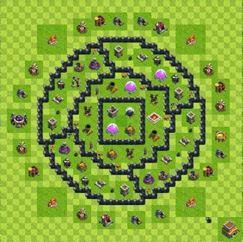layout coc th 6 yang bagus base layout town hall level 8 tipe farming coc indonesia