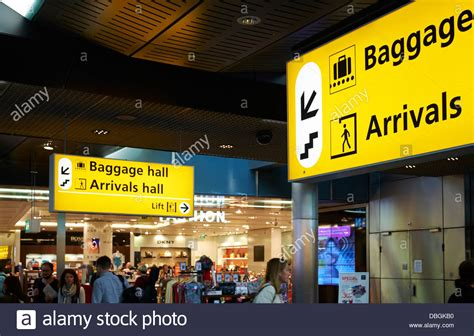 baggage  arrival hall sign amsterdam schiphol airport