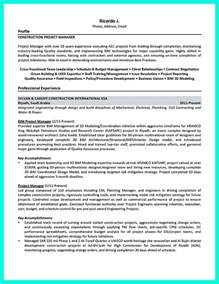 Resume Objective Exles Construction Construction Manager Resume To Get Approved