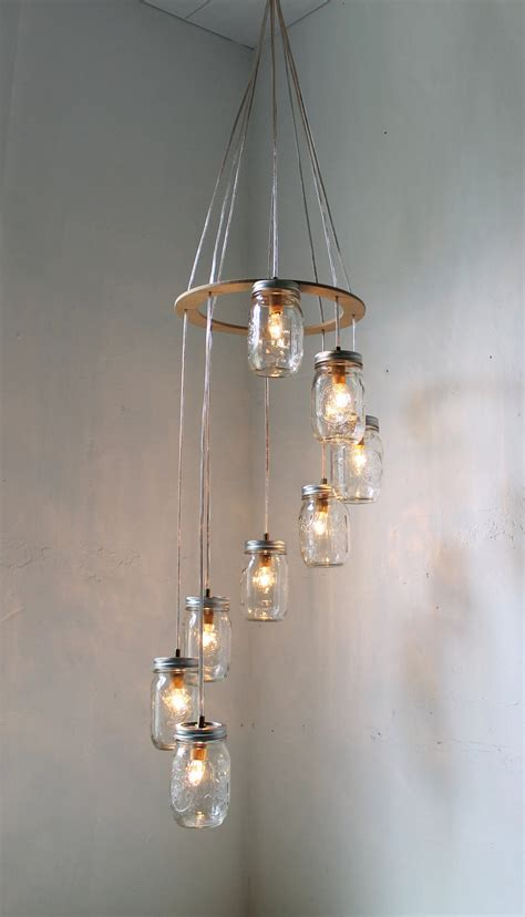 Jar Pendant Chandelier Spiral Jar Chandelier Rustic Hanging Pendant Lighting By Bootsngus Etsy
