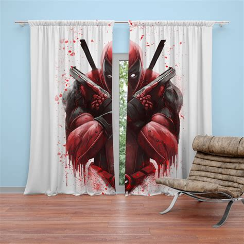 Deadpool Bedroom by Marvel Comic Deadpool Paint Curtain