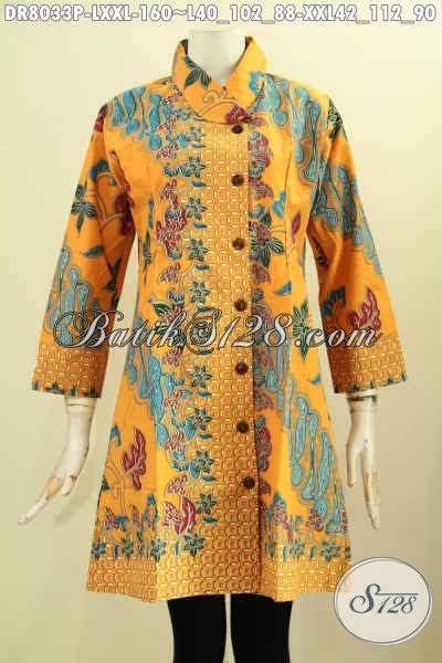 Batik Dress Kerah Kuning busana batik warna kuning motif elegan klasik nan berkelas