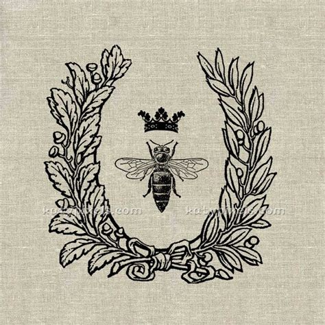 tattoo queen print instant download queen bee wreath vintage printable by