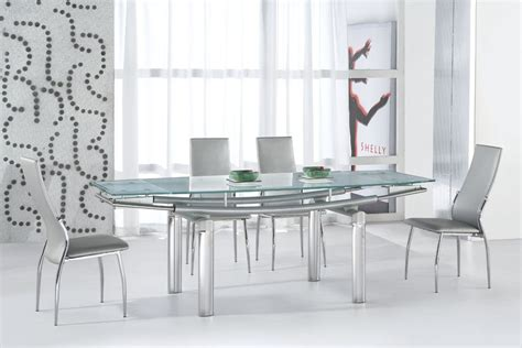 modern glass dining room table serenity ultra contemporary glass and tube dining room