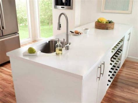 White Solid Surface Kitchen Countertops Top Kitchen Countertop Materials Pros And Cons