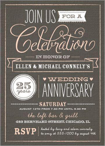 Wonderful Years 5x7 Anniversary Invitations   VINTAGE
