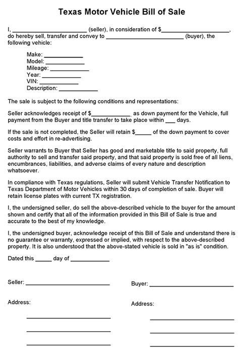 vehicle bill of sale free bill of sale