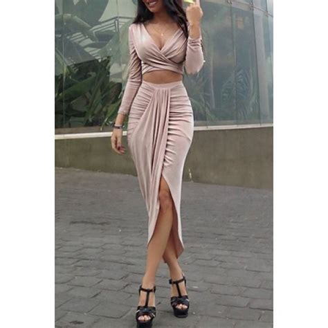 Set Cropped T Shirt Skirt pink sleeve cropped t shirt and slit midi