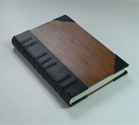 Handmade Leather Bound Books - handmade book bound in leather and wood aftcra