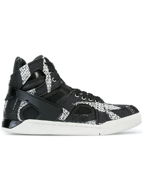 diesel high top shoes diesel titan hi top sneakers in black for lyst