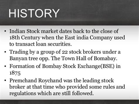 a presentation on the history of stock exchange in india
