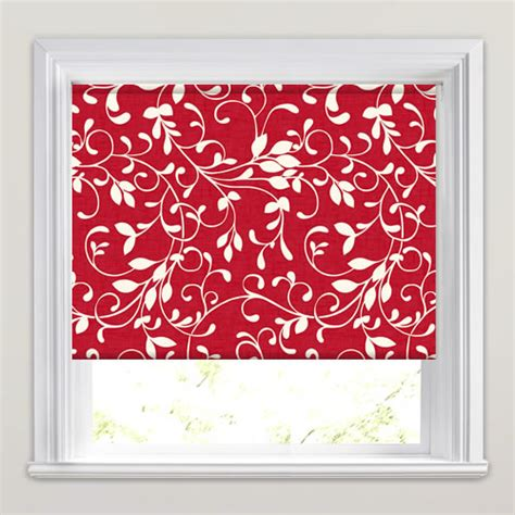 red patterned roller blinds vibrant ruby red white swirling leaves patterned roller