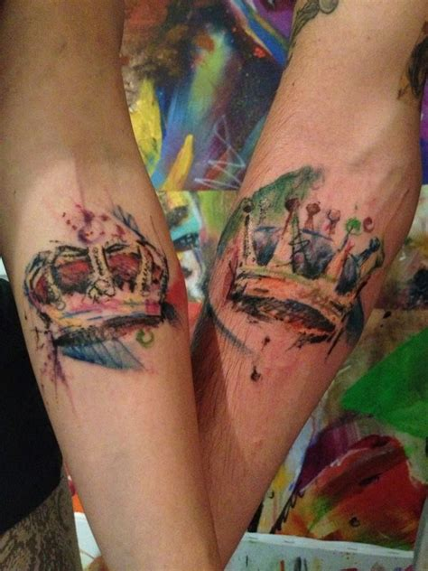18 watercolor crown tattoos 32 of the best couples
