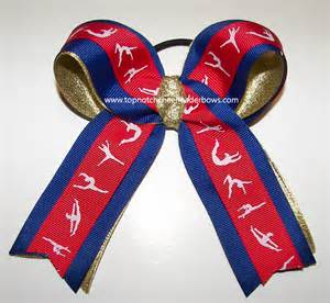 ribbon for hair that says gymnastics gymnastics ribbons ponytail holder red blue gold metallic