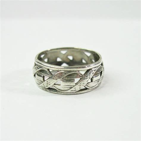 vintage 1940s wedding band ring antique sterling silver