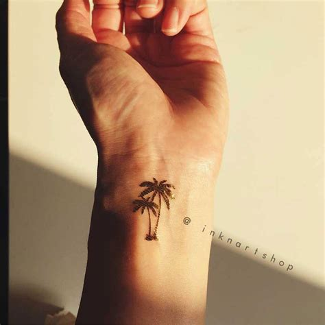 tiny palm tree tattoo 4pcs tiny palm tree in gold inknartshop designer