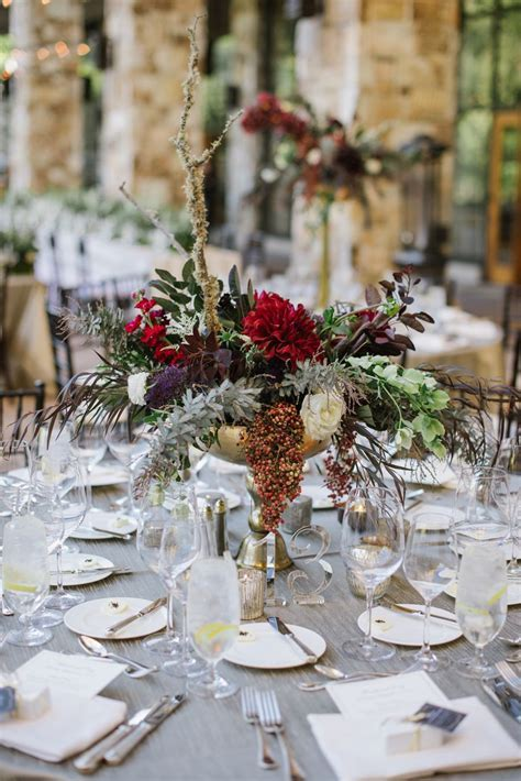 Burgundy and Gray Tabletop in 2019   Centerpieces   Grey