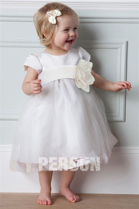 white baby dress robe de c 233 r 233 monie fille courte 224 manche courte orn 233 e dune