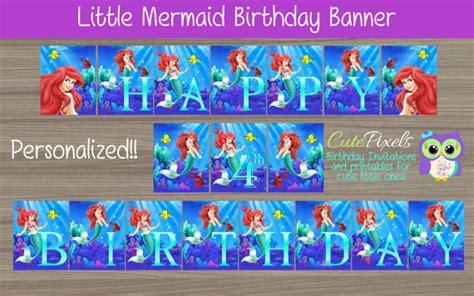 ariel happy birthday banner printable little mermaid birthday banner ariel birthday banner disney