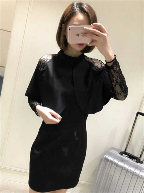Dress Import Murah Hitam dress hitam import lengan panjang cantik model terbaru