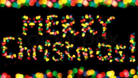 colorful garland lights looking as words quot merry christmas