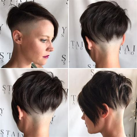 womens brunette choppy asymmetrical undercut pixie short