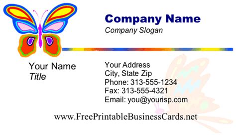business card templates free printable butterfly business card