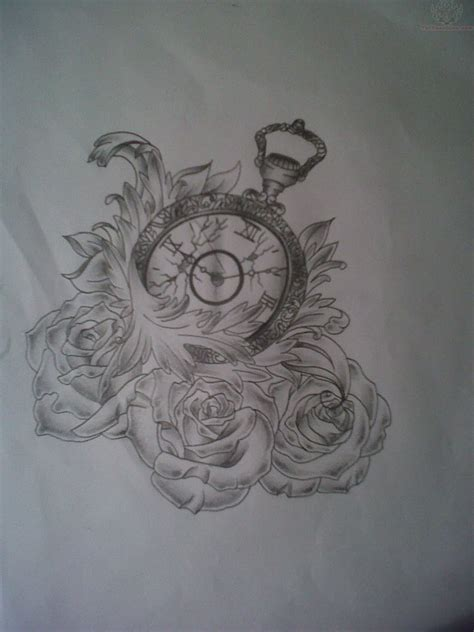 rose and clock tattoo unique clock and roses design