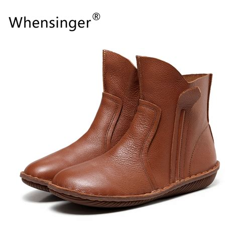 leather boots fashion whensinger 2017 new genuine leather fashion boots