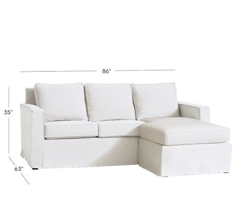 cameron square arm slipcovered sofa with reversible chaise