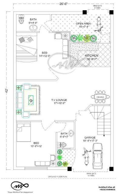 how big is 48 square feet 27x36 1000 square feet 3 5 marla house plan and map