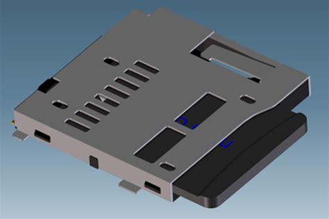 Slot Microsd Card micro sd slot with sd card step iges 3d cad model grabcad