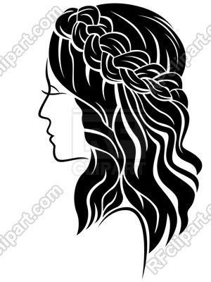 female  long hair  classic braided plait illustration isolated   white background