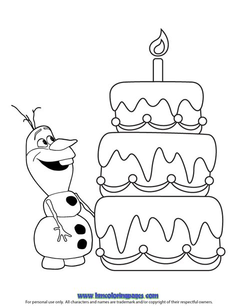 happy birthday olaf coloring page h m coloring pages
