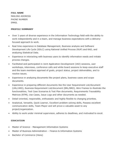 business system analyst resume sle resume heading sle for a junior business analyst
