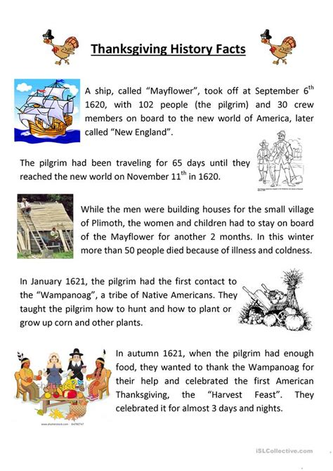 The History Of For Worksheet by Teaching Thanksgiving History Worksheet Free Esl