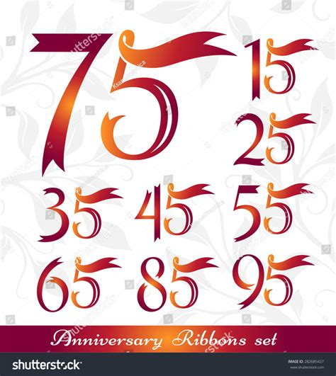 75th wedding anniversary symbol anniversary emblems set celebration icons numbers stock