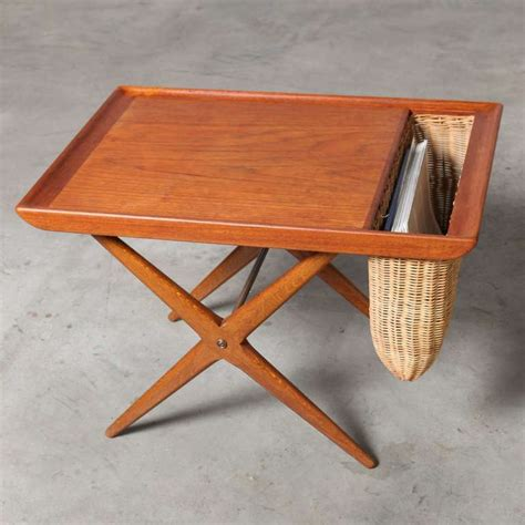 Basket Table by Teak Side Table With Woven Magazine Basket 1960