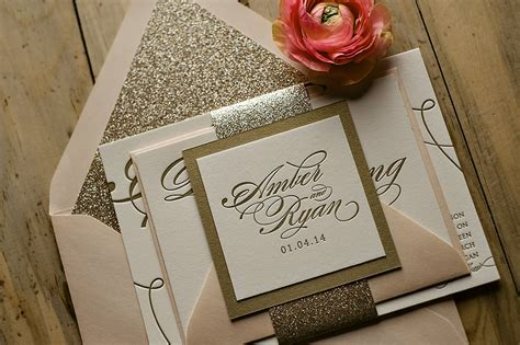 gold sparkle wedding invitations real wedding and pink and gold glitter
