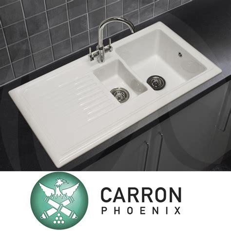White Ceramic 1 5 Bowl Kitchen Sink Carron 150 1 5 Bowl Gloss White Ceramic Kitchen Sink Waste Tap Ebay