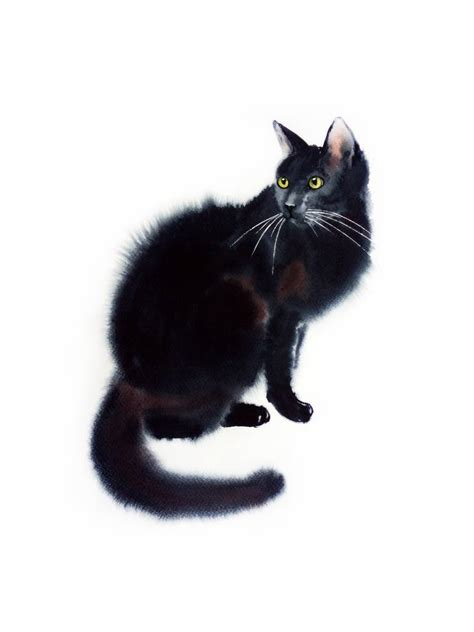 saatchi art black cat black cat portrait watercolor