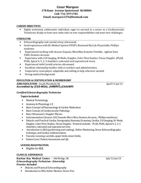 Cardiac Sonographer Resume Template by Cardiovascular Tech Resume