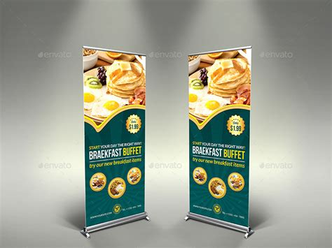 design banner cafe breakfast restaurant rollup signage template by owpictures