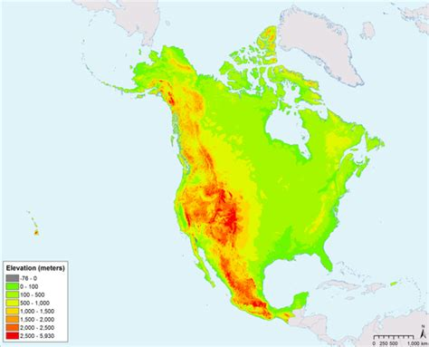 america map elevation atlas maps commission for environmental cooperation