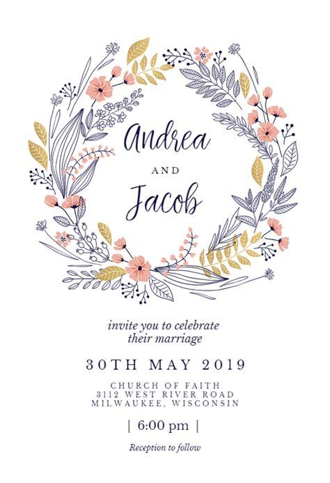 free printable wedding invitation templates greetings island wedding wreath free wedding invitation template
