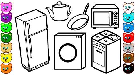 coloring pages kitchen appliances learn colors for kids with kitchen appliances and tools