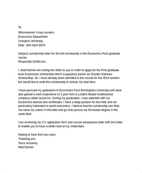 Cover Letter Scholarship by Scholarship Application Letter Sle Pdf Cover Letter Templates